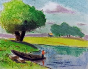 Boat by a Lake, Pastel