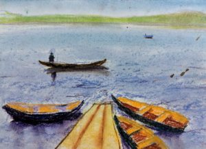 Boats by a Pier, Pastel
