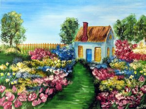 Flower Garden & A Little House