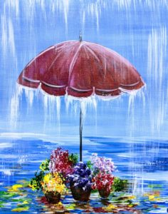 Flowers Under Umbrella
