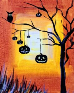 Halloween Tree and Pumpkins