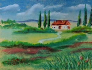 House in a Flower Field, Pastel