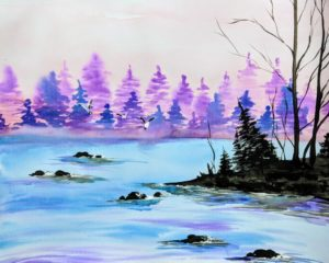 Lilac Lake, Watercolor