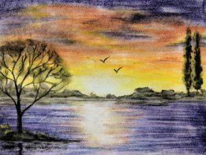 Sunset on Ocean, Pastel