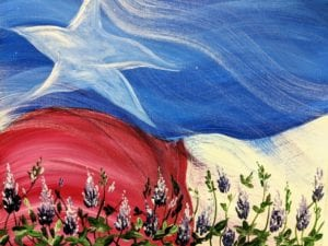 Texas Flag & Bluebonnets