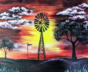 Texas Sunset and Windmill
